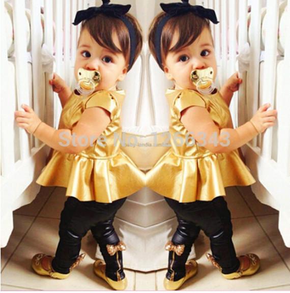Fashion Baby Clothes Gold Leather Girls Clothing Set PU Flare Shirt Pant Children Clothing Set(China (Mainland))