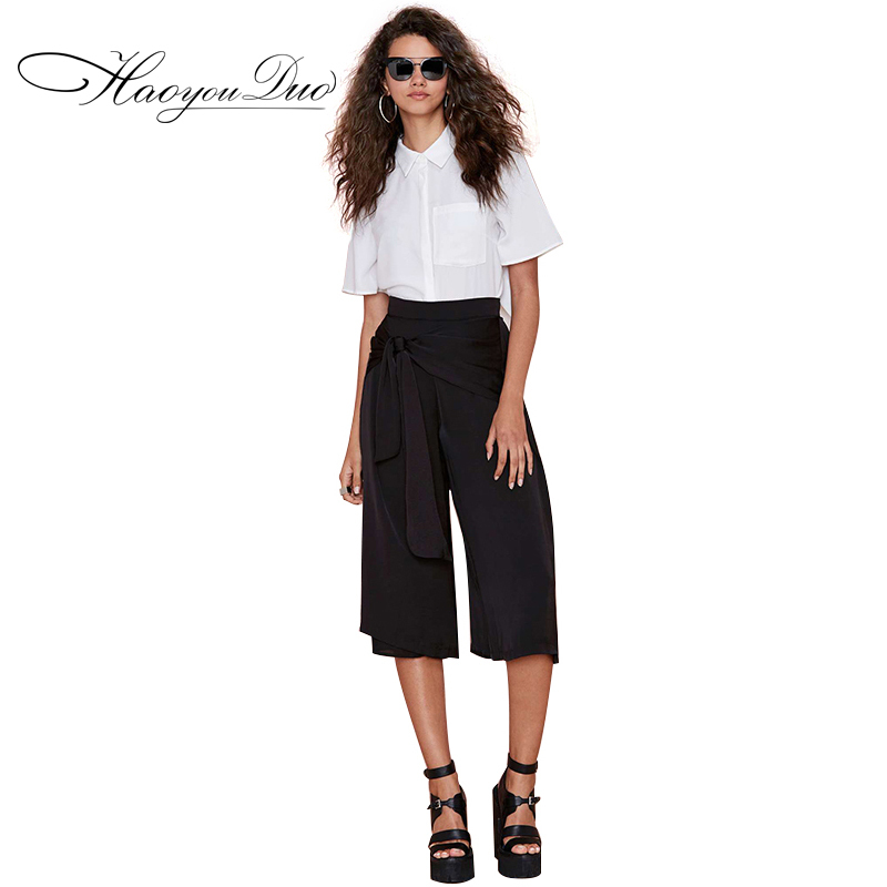 Women Summer New Casual High-waist Drawstring Capris Wide Leg Pants Waist with Kinked and Zipper Decoration Culottes(China (Mainland))