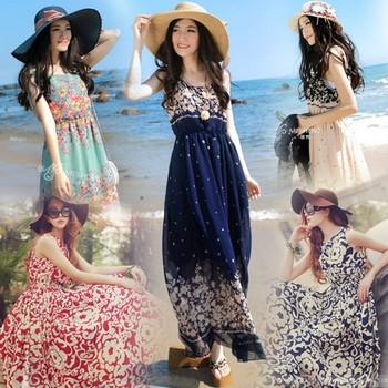 Шифон женщин платье печать 2015 летнее платье макси бохо свободного покроя женщины платья 6612