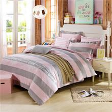 2015 Wholesale Bedding Set Drap de Lit Bed Linen for Children Striped Bedding Sets Grey Pink Duvet Cover Set Without Comforter(China (Mainland))