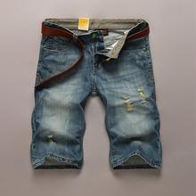 Short Jeans Men 2015 Fashion Brand Men's Summer Casual Cotton Mens Denim Straight Oblique Pocket Man Shorts Free Shipping(China (Mainland))