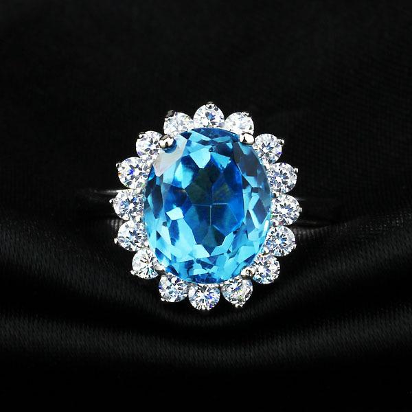 Korean jewelry natural aquamarine topaz jewelry popular hot 925 sterling silver ring(China (Mainland))