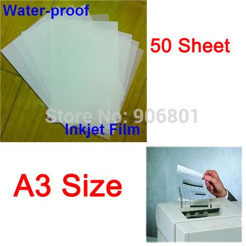 50 Sheet/Set A3 Waterproof Mil Inkjet Printer Transparency Film Paper Screen Printing FT-100 Printing Super Transfer Film(China (Mainland))