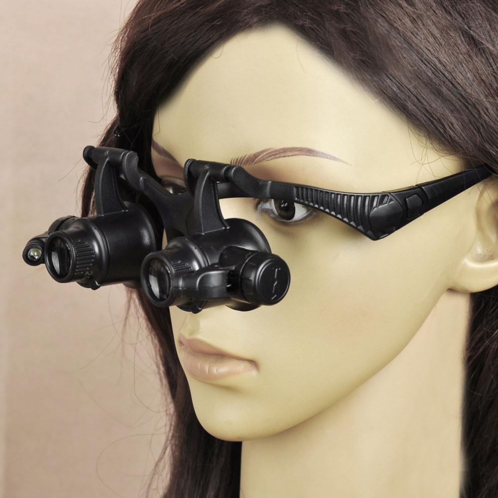 10X 20X Folding Eyewear Magnifier Binocular Double Eye Jeweler Watch Repair Magnifying Glasses Loupe LED Lights(China (Mainland))