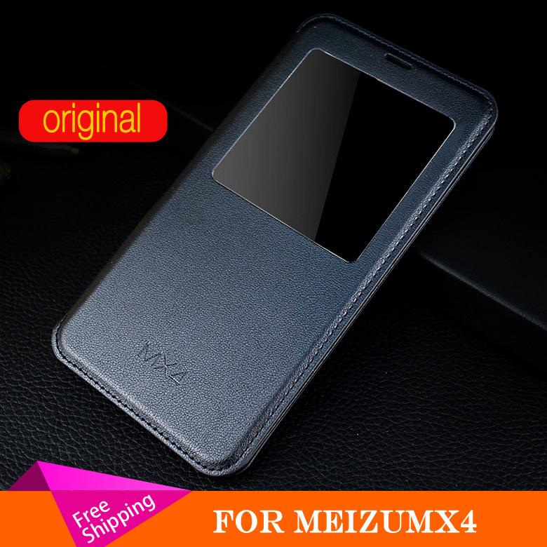 Original leather case for meizu mx4 case Luxury Phone cover case for meizu mx4 mx4 pro Cover Smart Window Original Phone Case(China (Mainland))