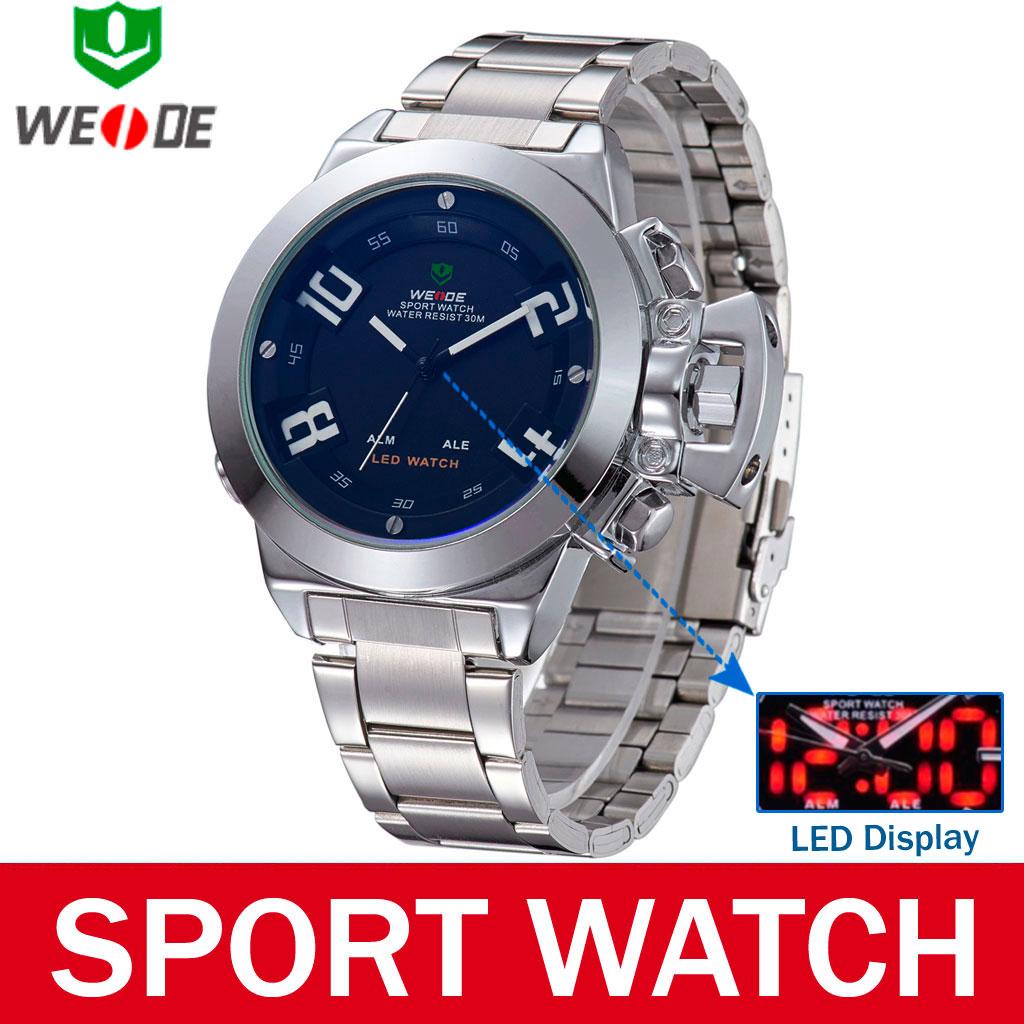 Fashion Weide Brand Waterproof Dual Display Digital Analog Quartz Men Military Sport Watch Outdoor Cycling Casual