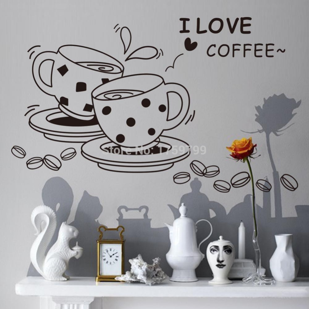 FREE SHIPPING Black I love coffee Restaurant Storefront Kitchen Wall Sticker ZY8241 Fashion Sticker Home Decration Wallpaper(China (Mainland))