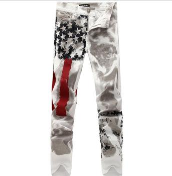 Качество мужские джинсы американский флаг печать, Большой размер 44 джинсовой комбинезон хлопок стрейч гетеросексуальных мужчин свободного покроя 6XL