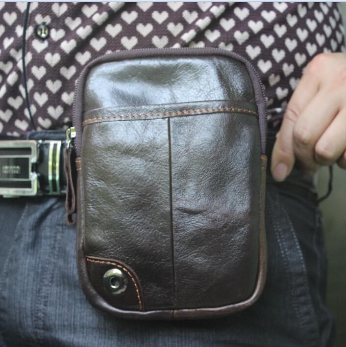 Genuine leather men Waist Bag Men's Outdoor Sport Casual Waist Packs Purse Mobile Phone Case Wear a belt bags 2015 new men bag(China (Mainland))