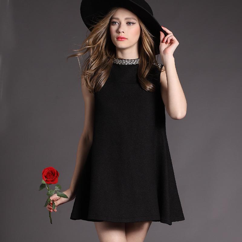 2015 New Fashion Women's Dress European Style High Summer Loose Sleeveless Beaded Black Dress Women Clothing Swing Dress Summer(China (Mainland))