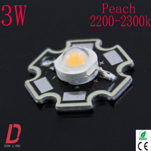 Free shipping 50pcs/lot Whosale Epistar 3w led diode high power led peach 2200-2300k 20mm PCB lamp beads(China (Mainland))