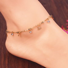 New Fashion Simple Elegant Gold Ankle Bracelet Rose Butterfly Charm Sexy Anklets for Women Foot Chain