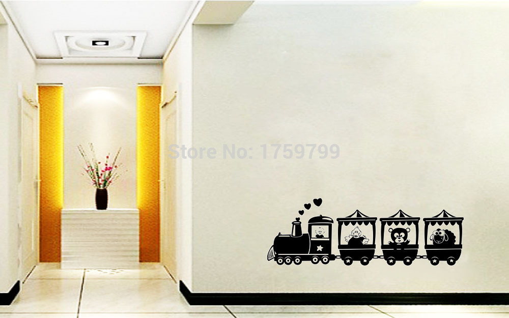 Animal Train home decoration wall art decals quote living room wall pictures kids room wallpaper sticker on the wall(China (Mainland))