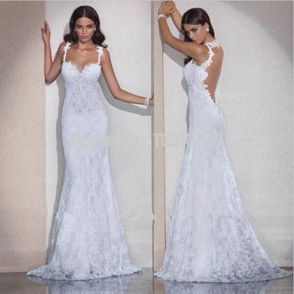 Vestido De Noiva Free Shipping Mermaid Open Back Lace Wedding Dresses Sexy Backless Wedding Dress 2015 Vestido De Casamento(China (Mainland))