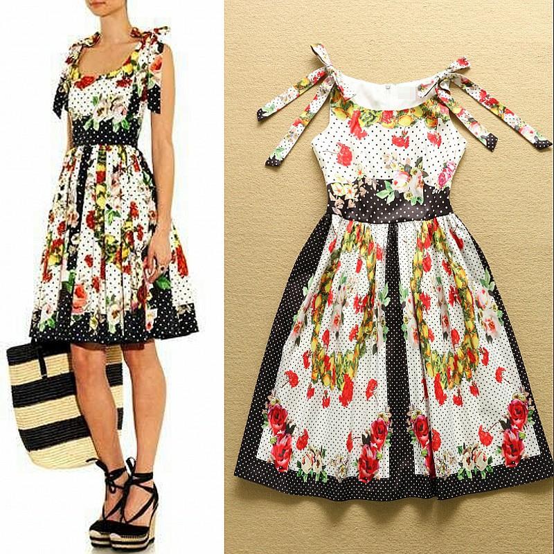 2015 Fashion Designer Runway Summer Dress Women's Spaghetti strap Carnations Flowers Print Casual Dress(China (Mainland))