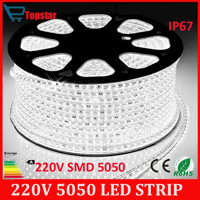Free shipping 1-19 meters 220V SMD 5050 led strip light+Power plug,warm white/white/RGB tape 60leds/m waterproof IP67 led Strips(China (Mainland))