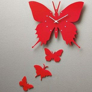 Fashion Creative Art Wall Clock Red Butterflies(China (Mainland))