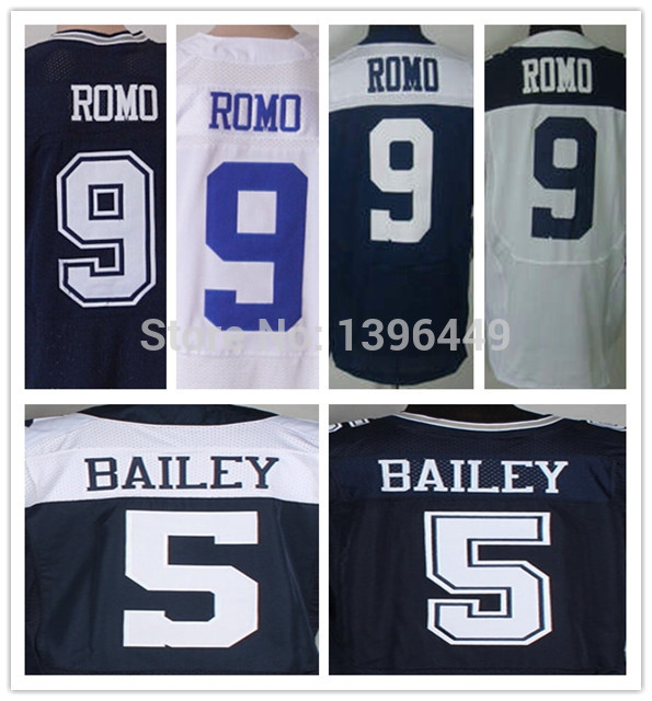 Cheap 5 Dan Bailey 9 Tony Romo Jersey Elite Blue White Thanksgiving Stitched Football Jersey Big Size 60(China (Mainland))