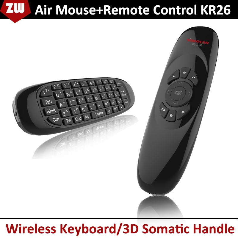 2.4G Air Mouse Two sides 6 Axis Gyroscope For TV/Android Box/IPTV/Action Games Fly Mouse Chargeable Keyboard Remote Control KR26(China (Mainland))