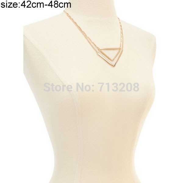 2015 Newest Cheap Gold Color Triangle Necklace Love forever Geometry Necklace For Women 21(China (Mainland))