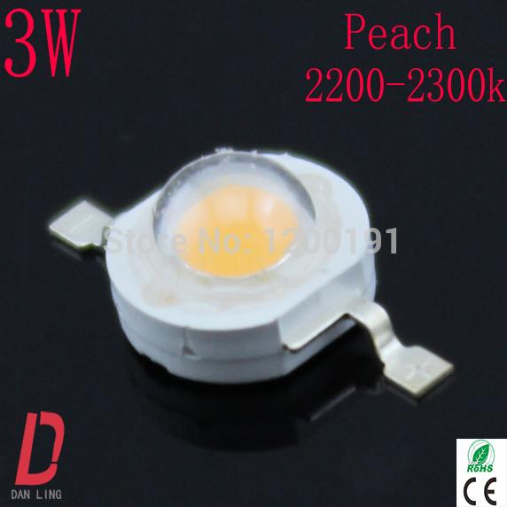 Free shipping 50pcs/lot Whosale Epistar led chip led 3w high power led peach 2200-2300k lamp beads(China (Mainland))