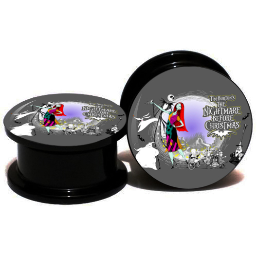2pcs/lot Acrylic Nightmare Before Christmas Ear Gauge Plug And Tunnel Stretcher Expander 6-25mm Double Flared Screw Fit Plug(China (Mainland))