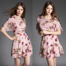 New Arrival 2015 Spring Summer Women DRESS  Fashion Elegant 3D Print Short-sleeve slim one-piece dress O-Neck Plus Size L XL