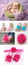 Hot!!! Schönen Blumen mädchen säugling, kleinkind schuhe sandalen schuhe + haar stirnbänder zubehör haarband px69(China (Mainland))