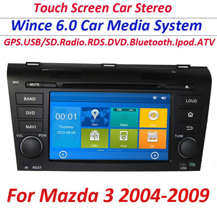 2 din Mazda 3 DVD radio player 2004 2005 2006 2007 2008 2009 Car DVD with GPS navigation Bluetooth RDS Radio iPod USB FREE MAP(China (Mainland))