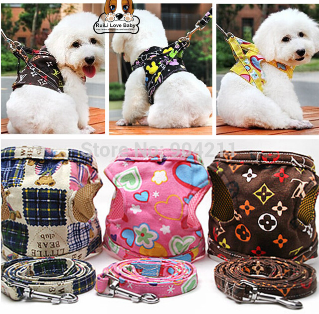 New arrival High quality Nylon dog harness and leash 8 designs 3 sizes pet dog leash lead and collar cat(China (Mainland))