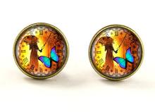 (BUY 3 GET 1 FREE )wholeslae Steampunk clock Stud Earrings Steampunk watch Earrings Steampunk clock photo Earrings(China (Mainland))
