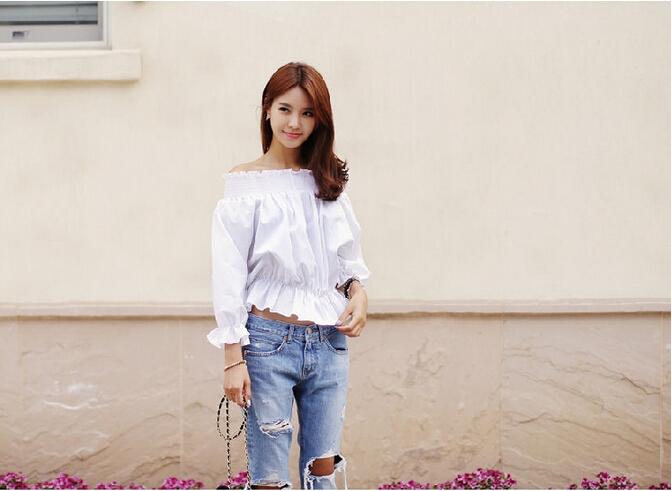 Осень хлопок джинсы женщины без тары низкая талия моющийся винтажный большой разрез рваные длинная деним карандаш деним брюки j2810