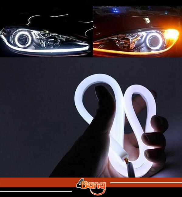 2x 60cm DRL Flexible LED Tube Strip Style Car Headlight Light Amber/White For VW Jetta Eos Golf Passat R32 Tiguan Touareg(China (Mainland))