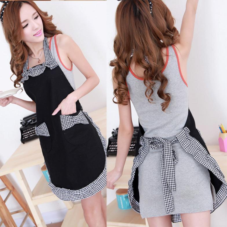 2015 Fashion Chefs Kitchen Cooking Apron Cotton Grid Pattern Bowknots Pockets Free shipping #LY010(China (Mainland))