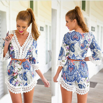 2015 , лето , новый шик женская одежда белое кружево печатные мини Vestidos хай-стрит мода свободного покроя женщины одеваются