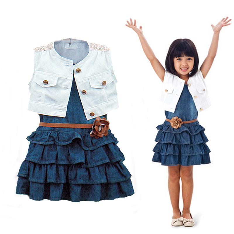 2015 New Summer Girls Clothing Sets Girl Navy Denim dress + coat + belt Summer Children princess Dresses For Girls Light Blue(China (Mainland))