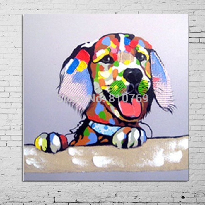 2015 Free Shipping Cartoon Oil Painting on Canvas Abstract Animal Wall Art for Home Decoration The