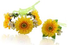 The sunflower garland flower sweet style bracelet suits seaside resort headdress flower marriage gauze dress accessories