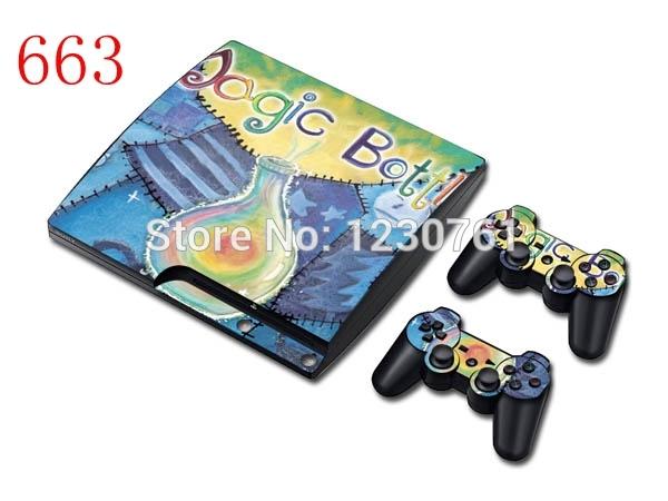 For PlayStation 3 Slim + 2 Controller Vinyl Sticker(China (Mainland))