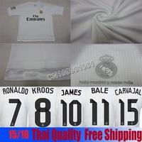 14/15! , LogoThailand Real Madrid Home Long Sleeve Soccer Shirt