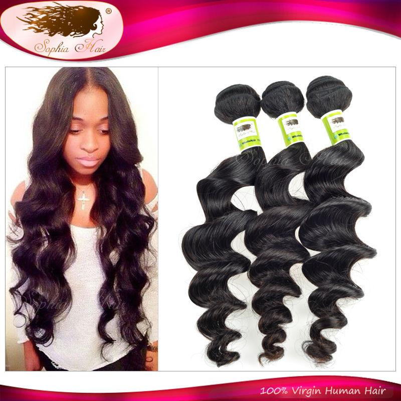 Sophia Hair Products Indian Virgin Hair Loose Wave 3Pcs/Lot Cheap Indian Remy Hair Bundles Raw Indian Human Hair Shipping Free(China (Mainland))