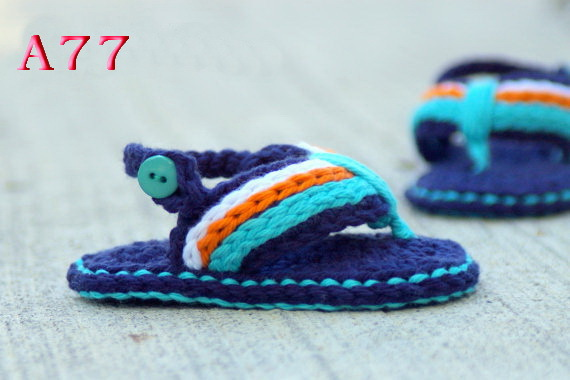 Free shipping Crochet Baby Sandals, Baby boy Flip Flops, Crochet Baby Shoes, Sizes 0-12 Months(China (Mainland))