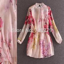 2015 Spring Women Clothing 3D Print Summer New arrival Women's Elegant Small Stand collar Summer DRESS  High Quality 100% Silk