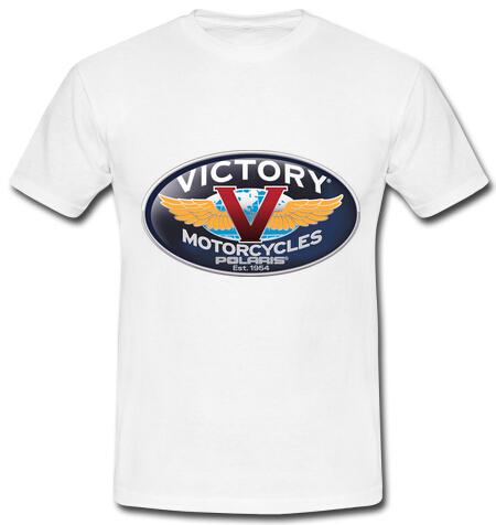 Free Shipping 2015 New Fashion 100% Cotton Tops Man Victory Motorcycles Casual Short Sleeve T Shirt Customized Print t-shirt(China (Mainland))