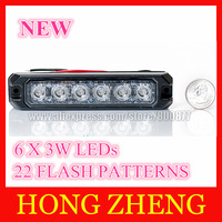 T6 Car external warning lights LED grill surface mount lighthead , DC12/24V, 22 flash patterns, 6 CREE 3W LED, waterproof