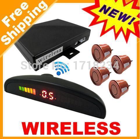 Factory Wholesale Hottest Selling Car LED 4 Sensors Wireless Parking Sensor Reversing Backup Radar System Easy Install(China (Mainland))