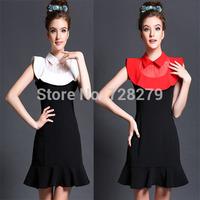 2015 Fashion Dress Women DRESS Party DRESSES Plus Size L XL XXL 3XL 4XL 5XL  Dresses  Patchwork