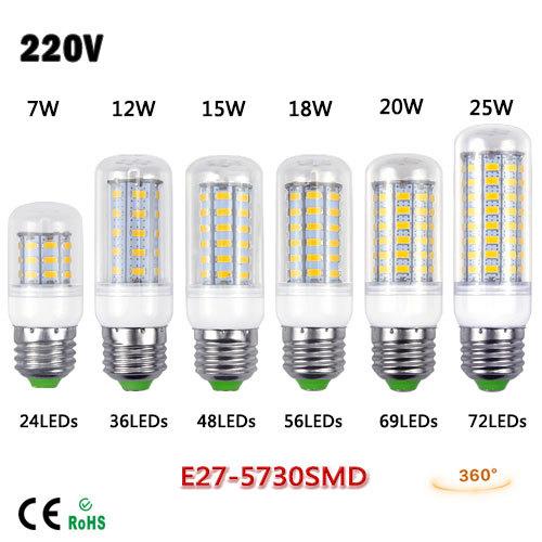 E27 NEW LED lamp 3W 5W 7W 9W 12W 15W 18W 20W 25W Cree 5730 SMD LED Bulb Lighting White/Warm White 220V 230V For Home use(China (Mainland))