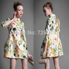 2015 Fashion Summer Style Women's Clothing Spring fashion 3D Print A-line  Elegant slim Dress High Quality Plus Size L XL XXL