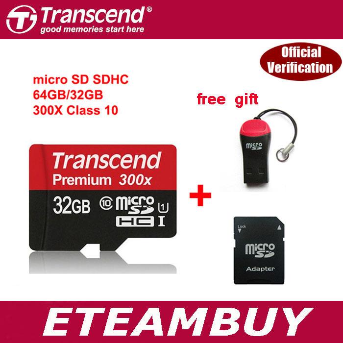 100% Original Transcend MicroSD Micro SD SDHC c10 45m/s 300x TF 32gb 64gb 16gb Memory Card Support Official Verification(China (Mainland))